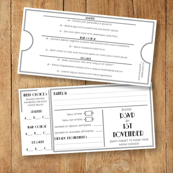 Menu And RSVP Template With Menu Choices Selection Card