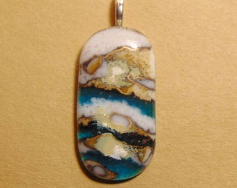 Fused Glass Pendant French Vanilla, Browns, Blues with Gold Accents