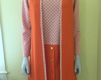 1960's, MOD, Orange, Two Piece, Polyester Knit, Dropped Waist Dress, Long Vest, Size M