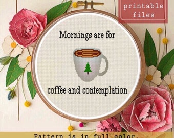 Stranger Things mornings are for coffee and contemplation instant download PDF  cross stitch PATTERN