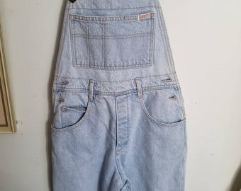 80s Guess overall shorts light blue denim and original triangle label