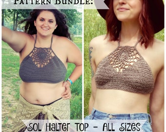 Crochet PATTERN BUNDLE - Sol Halter Top, All Sizes / Dream Catcher Top / Crop Top - Buy Together and Save - 2 Instant Download PDFs