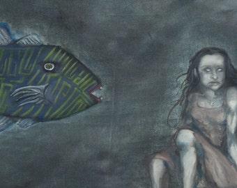 Original Framed Oil Painting 24x20 Surreal Ocean Fish - Deep
