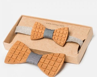 """Wooden Bow Tie """"Square"""" - for Adults and Kids"""