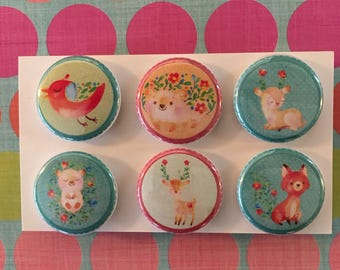 Spring animal Magnets, one inch round