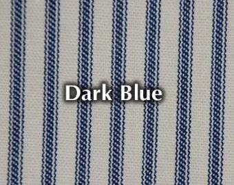 NEW Dark Blue Striped Bed Ticking Fabric Material Per Yard