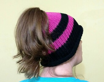 Messy Bun Hat Crochet Knitted Black Pink Poneytail Hat