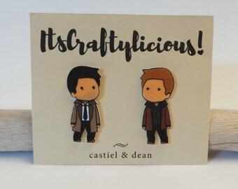 Castiel and Dean polyshrink earrings