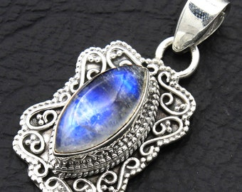Rainbow Moonstone Bali Style 925 Sterling Silver Handmade Gemstone Pendant Size 1 1/2-ap554