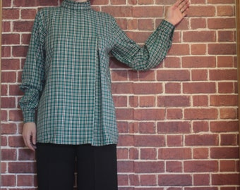 Plaid and Ruffled Cotton Woman Blouse/ Long Sleeved