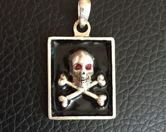 Skull Bones Pendant Charm 925 Silver with black enamel  and red eyes