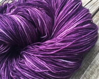 Hand Dyed Sock Yarn Pirates Like Eggplant Too Hand Painted sockyarn 463 yards purple grape fingering superwash merino nylon Treasured Toes
