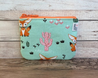 Fennec Fox Coin Purse Kawaii Fabric Handmade Zipper Pouch, Earbuds Case, Change Bag, Zippered Kids Wallet, Gift Card Holder, Fox Lover Gift