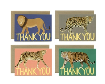 """Big Cat Variety Thank You Card - Boxed Set of 8 Cards and Envelopes - """"Thank You"""" - ID: TYBOX001"""