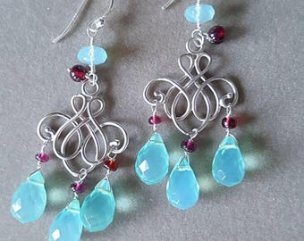 Holiday Sale Aqua Quartz with Rhodalite Garnet Chandelier Earrings on Brushed Silver Wedding Jewelry Gift for Her