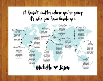 Vintage world map seating chart printable wedding party custom world map seating chart printable digital personalized file travel theme destination gumiabroncs Images