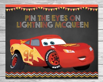 Disney Cars Pin the Tail Game Lightning McQueen - Chalkboard - Cars Party Game - Cars Birthday Party Pin Game - Printable Party Game Cars