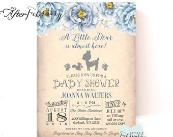 Woodland Baby Shower Invitation, Muted Blue Floral Baby Deer Baby Shower Invitation Boy, Printable OR Printed No.1006BABY