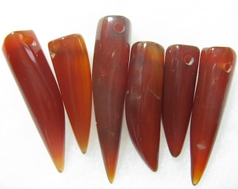 Agate Gemstone Talon Horn Claw Tooth Beads 6 Jewelry Beads 30mm - 40mm RT9