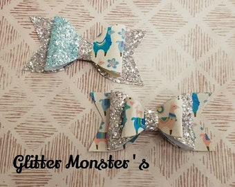 Glitter Alpaca Hair Bow, Alpaca Hair Bow, Alpaca Headband, Llama Hair Bow Glitter Alpaca Bow, Leather Bows, Toddler Bows, Girls Hair Clips