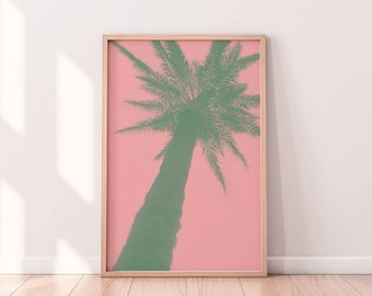 Tropical Leaf Print, Palm Print, Digital Wall Art, Summer Prints, Digital Print, Palm Art Print, Beach Print, Tropical Print, Pink Print