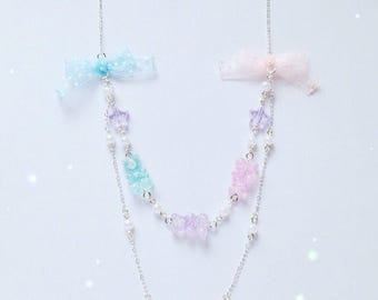 Sweet Gummy Bear Necklace with Star, Pearl and Bow details, Fairy Kei, Sweet Lolita, Pastel Kei, Jfashion etc inspired