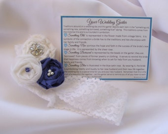 Garter for Wedding something old, something new, something borrowed, something blue with poem and toss garter