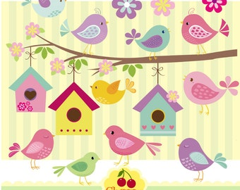 Little Birds Digital Clipart 02-Little Birdie clip art-digital matching papers-Personal and Commercial Use
