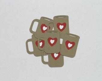 Coffee Mug Die Cuts-Mug Die Cuts-Cup Die Cuts-Mug Die Cut-Heart Mug-Mug-Coffee Cup-Love Mug-Heart Mug-Coffe Mug Confetti-Coffee Mug Invite