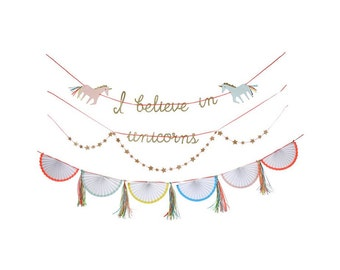 Unicorn Garland, Hanging Decorations, Party Supplies