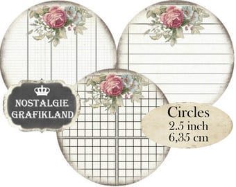 Writing Papers Grid Ephemera Organizing Organization Circles 2.5 inch Instant Download digital collage sheet C159