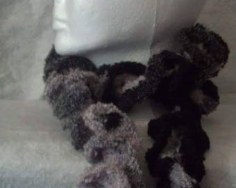 Pink & Black Variegated Crocheted Ruffle Scarf