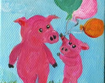 Pigs mini painting, pigs with balloons painting on little canvas with Easel, original small pig acrylic painting on canvas SharonFosterArt