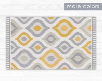 Printed PVC, linoleum rug - Yellow and grey geometric design, durable area rug, vinyl floor mat, for indoor and outdoor use.