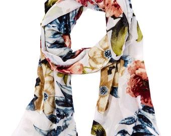 Women's Vintage White & Blue Floral Silk-Blend Scarf