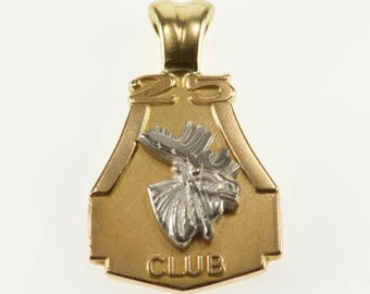 10K Two Tone 25 Year Moose Club Raised Design Pendant Yellow Gold