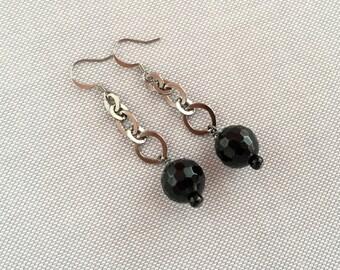 Long dangle chain earrings, statement chain earrings with beads. Long drop earrings, black bead and chain earrings. Black statement earing