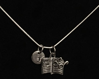 Book Sterling Silver Necklace, Glasses Sterling Silver Necklace, Literary Sterling Silver Necklace qb138