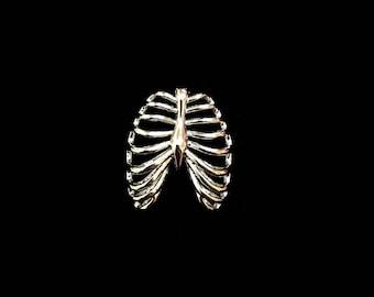 3D Rib Cage Pendant - Rhodium Plated (1x) (K625-B)