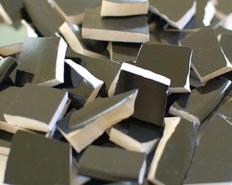 Mosaic Tiles Supplies - Solid Jet Black - Set of 100