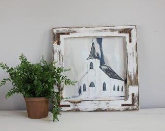 Fine Art Print, Church Print, Giclee Print, Farmhouse Style Art, Abstract Art, Church Painting,