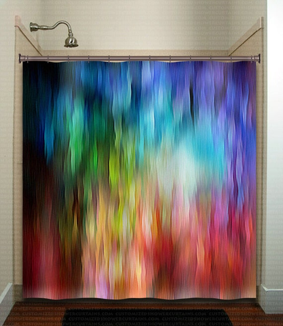 Watercolor Waterfall Stripe Rainbow Shower Curtain Extra Long