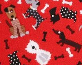 """Novelty dogs and bones on red fabric, By the Half Yard, 44"""" wide, 100% cotton"""
