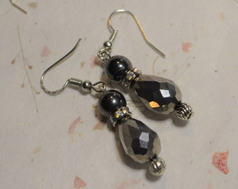 Hematite Rhinestone Dangle Earrings - Black & Silver Sparkle on Steel Hook