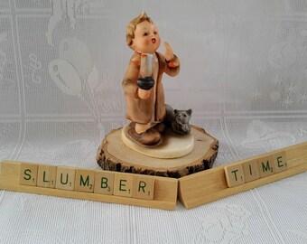 "Vintage ""Slumber Time"" Boy and Cat Hummel Style Ceramic Figurine, Made in Japan"