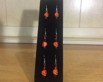 Scull Earrings in Orange