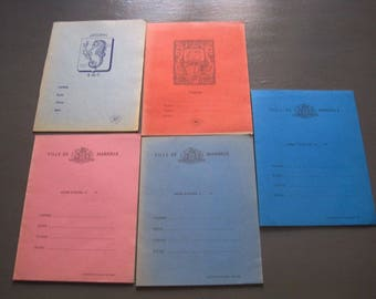 5 old vintage school notebooks, childhood memories classe.collection France 1960/1970