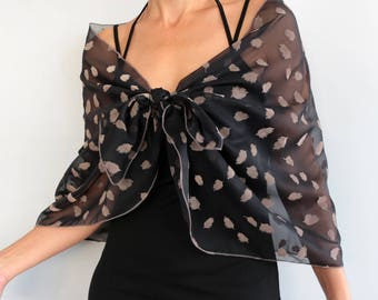 Black Chiffon Shawl, Evening Stole Wrap, Beige Brown Leaves Sarong, Formal Shoulder Scarf, Costume Dress Cover-up