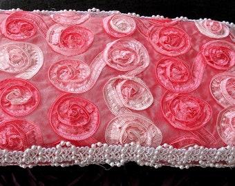 Baby Diaper Wipe Case Pink Satin Rosette Fabric