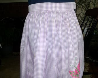Purple gingham half apron with cross stitched butterfly